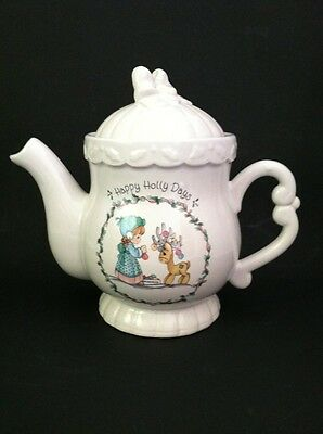 Pretty Precious Moments Christmas Tea Pot Happy Holly Days 1994 Enesco Vgc!
