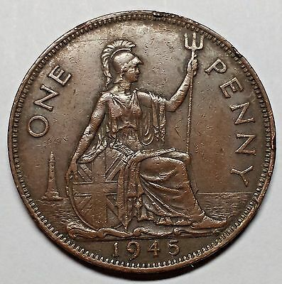 1945 UK Great Britain Large Penny George VI , You Grade