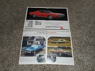 "Vintage Original 1972 Dodge Charger Coronet  Magazine Ad Advertisement 17""x11'"