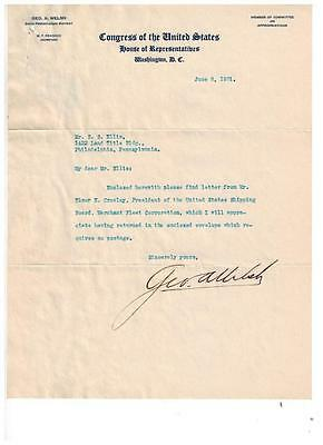 1931 GEORGE AUSTIN WELSH Signed Letter ALS MC US Representative Pennsylvania