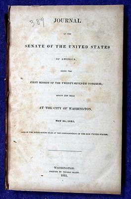 1841 UNITED STATES SENATE 302 page Journal for 1st Session of 27th Congress