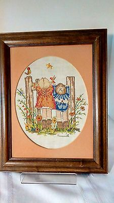 Vtg Hummel Design Framed Cross Stitch Needle Pt Children At Fence Flowers Birds