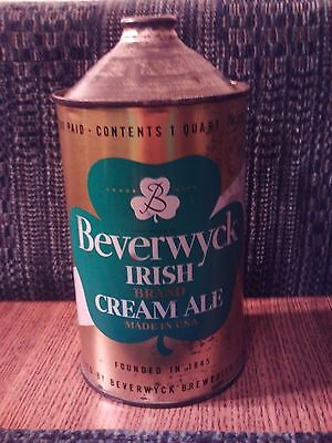 Very Nice Beverwyck Irish Brand Cream Ale Quart Cone Top - Albany, New York