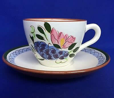 Stangl Fruit and Flowers Cup And Saucer Set Pattern Art Pottery Coffee Tea VTG