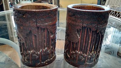 RARE PAiR. Late 19th C CHINESE SCHOLAR's BRUSH POTS Great CARVING in Lg BAMBOO!