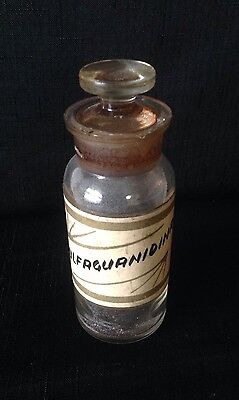 Antique Apothecary Pharmacy Glass Jar Sulfaguanioina Hand Painted Label Stopper