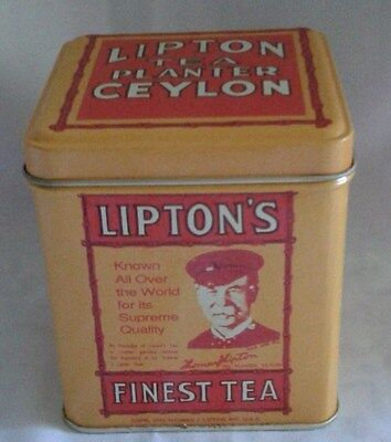 Lipton's Tea Planter Ceylon Square Tin Replica, Excellent Condition