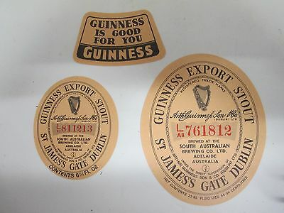 2x Sth Australian Guinness Export Stout Beer Labels and Neck Label