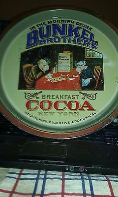 Vintage English Bunkel Brothers Cocoa Steel Advertising Serving Tray 12 1/2""