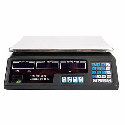 Digital Weight Scale Price Computing Food Meat Produce Deli Market 40kg 88lb