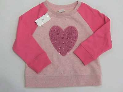 NWT Baby Gap Girls Size 18-24 M 2t 4t or 5t Pink Heart Applique Sweatshirt Top