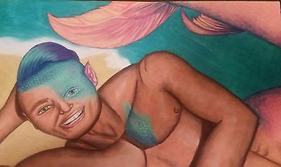 Drawing mermaid merman nude male study gay man 11 inches by 17 inches seascape