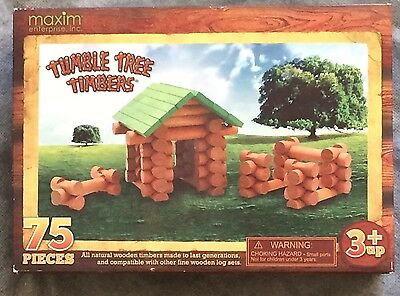 TUMBLE TREE TIMBERS Wooden Log Set 75 pc Compatible with Lincoln Logs NIB Age 3+