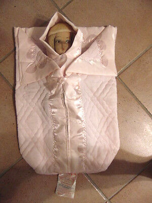 Vintage Baby Bunting Set DACRON Dupon Label Light Pink with Bonnet-MUST SEE L@@K