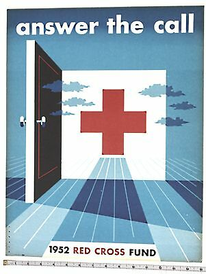 RED CROSS lithographed poster 1952 on card stock excellent condition USA artwork