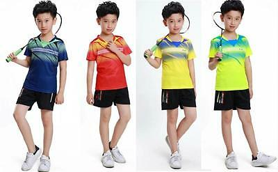 2017 New Child boy girl Tops Badminton Clothes/tennis T Shirt+shorts SSW80