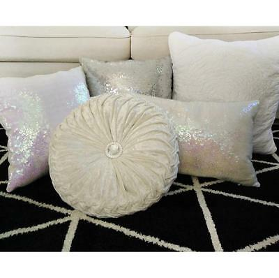 Home Decorative Silver/White Tones Pillow/Cushion Cover