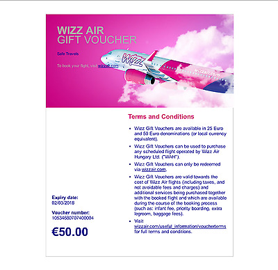 Wizzair Certificates for 50 Euro