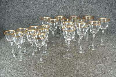 Mikasa Empire-Gold Trim Crystal Wine Glass X 8 & Water Goblet X 12 C. 1980'S