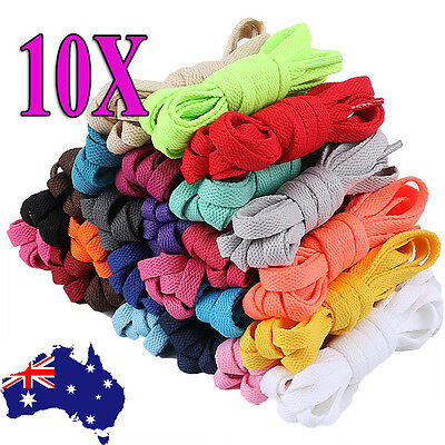 2/10pcs Shoelaces Colorful Coloured Flat Bootlace Sneaker shoe laces 120cm