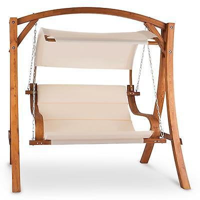 2 Seater Garden Swing Chair Bench Strong Larch Wood Luxury Outdoor Terrace