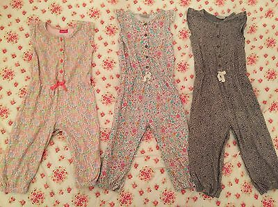 Next Girls Bundle X 3 Floral Jumpsuits/ Playsuits size 1.5-2 years 18-24 Months
