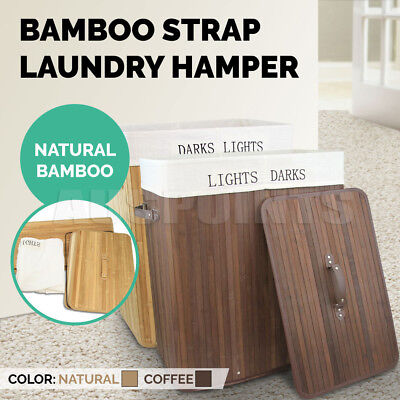 Bamboo Laundry Hamper Basket Wicker Clothes Double Storage Bag Sorter Bin Organi