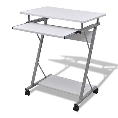 White Office Computer Desk Table Keyboard Tray Student Study Home Brief Style