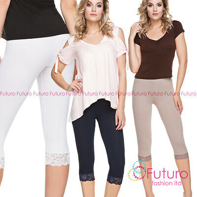 e7f94918814f04 CROPPED LEGGINGS WITH Lace Cotton 3/4 Length Summer Colours & Sizes ...