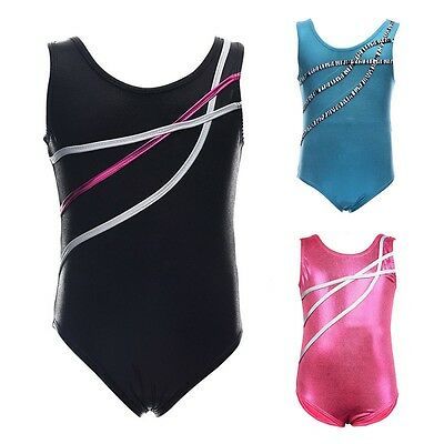 Kids Girls Gymnastics Leotards Sleeveless Ballet Dance Bodysuits Dancewear Tops