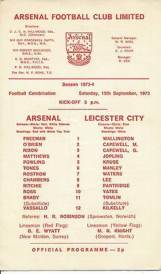 Arsenal Reserves v Leicester City (Combination) 1973/4