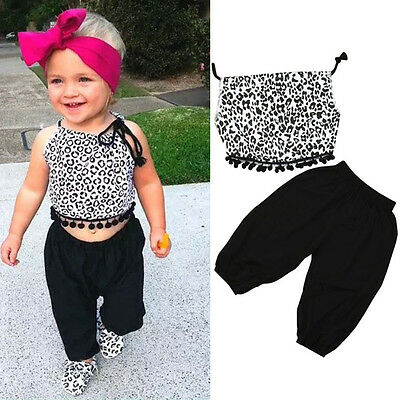 2PCS Toddler Kids Baby Girl Casual Outfits Clothes Tops Blouse+Harem Pants Suit