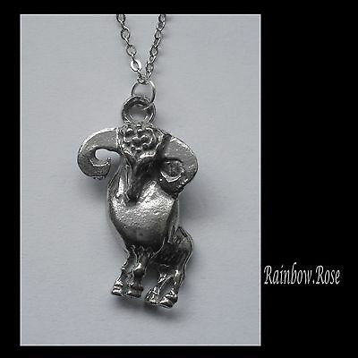 Pewter Necklace ZODIAC #1524 ARIES (Mar 21 - Apr 19) 18mm x 27mm
