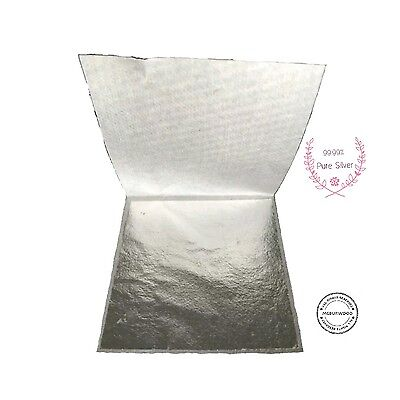 PURE SILVER LEAF SHEETS 24 K 99.99% PURE SIZE 5x5 CM. EDIBLE,ART,CRAFT,GLIDING☆☆