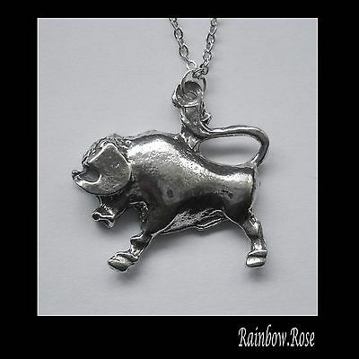 Pewter Necklace ZODIAC #1534 TAURUS (Apr 20 - May 20) 26mm x 27mm