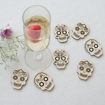 Large rustic wooden sugar skulls wedding table confetti day of the dead L84