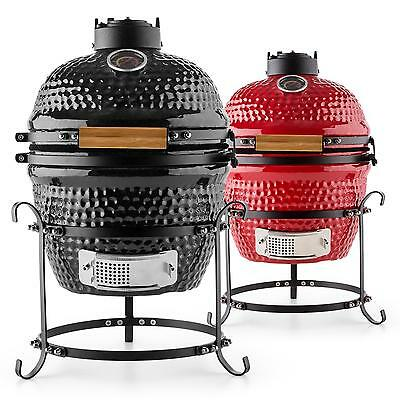 Grill Ceramic 2 Colours Pot Hot Oven Smoker Food Garden Bbq Meat Black Red Party