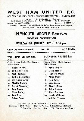 West Ham Reserves v Plymouth (Combination) 1961/2