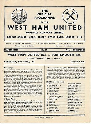 West Ham Reserves v Portsmouth (Combination Cup) 1954/5