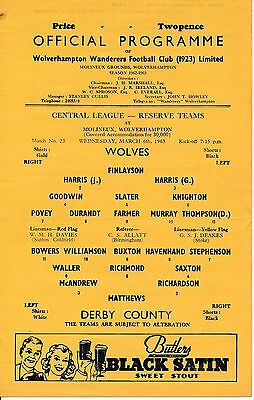 Wolves Reserves v Derby County (Central League) 1962/3