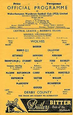 Wolves Reserves v Derby County (Central League) 1963/4