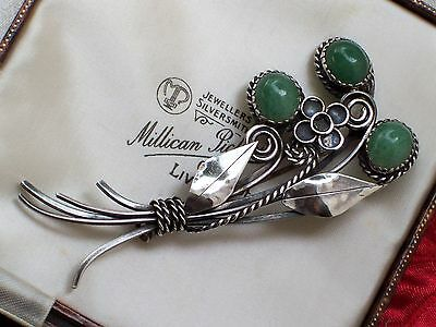 Vintage Jewellery Arts & Crafts Gladys & Charles Mumford Green Agate Brooch/pin