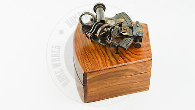 """New Vintage Solid Brass Nautical Sextant With Wooden  Box 4"""" Free Shipping"""