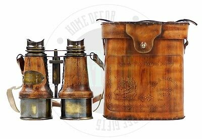 Vintage Nautical Binocular Solid Brass Antique Style leather bound Spy glass