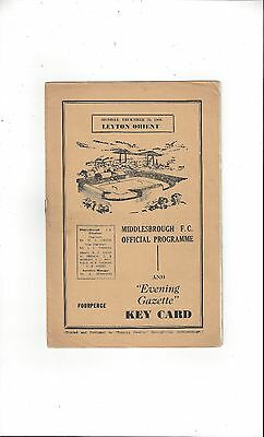 Middlesbrough v Leyton Orient Football Programme 1960/61