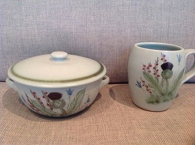 2 Buchan Pottery pieces  dish with lid and tea/coffee mug decorated with thistle