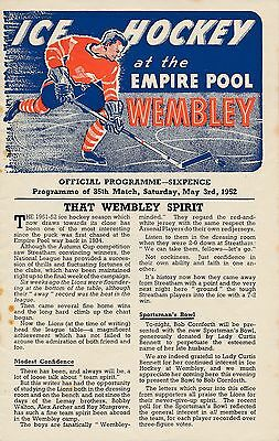 ICE HOCKEY PROGRAMME: Wembley Lions v Brighton Tigers 1952