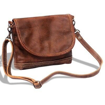S#Well-Made Real Leather Handbag Tote Shoulder Shopper Travel Bag w/ Flap Brown