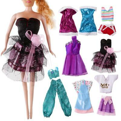 8 Sets Handmade Fashion Dresses Clothes Party Outfits for Barbie Dolls Gifts