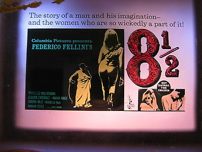 8 1/2 1963 Rare Australian cinema movie projector glass slide Federico Fellini